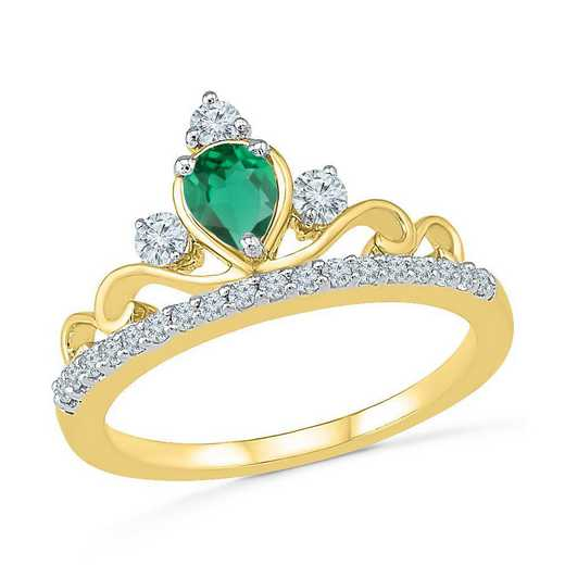 10K Yellow Gold Created White Sapphire & Created Emerald Crown Ring