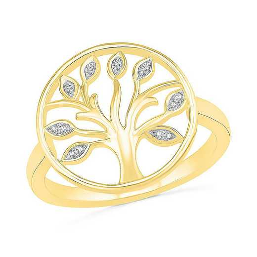 10KT YELLOW GOLD WITH DIAMOND ACCENT FASHION RING