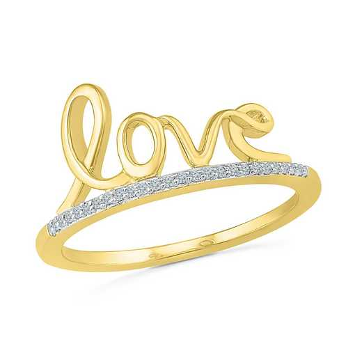 Diamond Accent Fashion Ring in 14KT Gold Plating over Sterling Silver