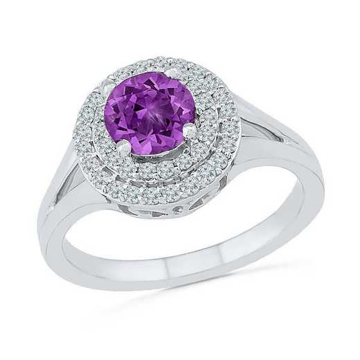 Sterling Silver Created White Sapphire & Amethyst Halo Ring