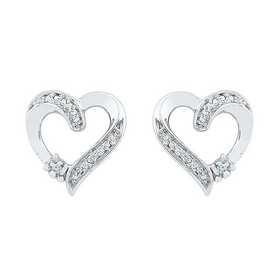 EH080405AAW: STERLING SILVER DIAMOND ACCENT HEART EARRING
