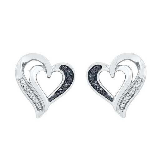 EH080407AAW BW: STERLING SILVER WHITE AND BLCK DIAMOND ACCENT HEART EARRING