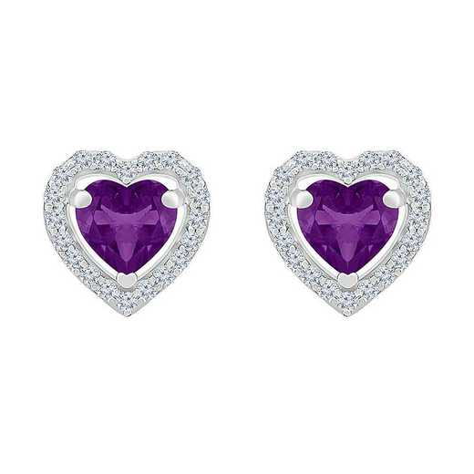 EH105503ZAW LWS AME: SS WITH CREATED WHITE SAPPHIRE AND AMETHYST HERAT EARRING