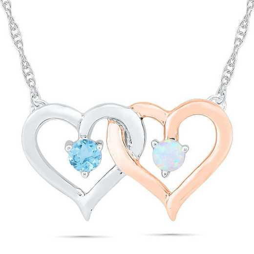 NH105073ZXP OPL BT: Silver+10Kt RG   2TN DBL HRT NECK NECKLACE LC OPAL+BLUE TOPAZ  DIA Accent