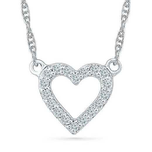NH200691BTW: 10KT WHITE GOLD WITH 1/10CTTW DIAMOND HEART NECKLACE