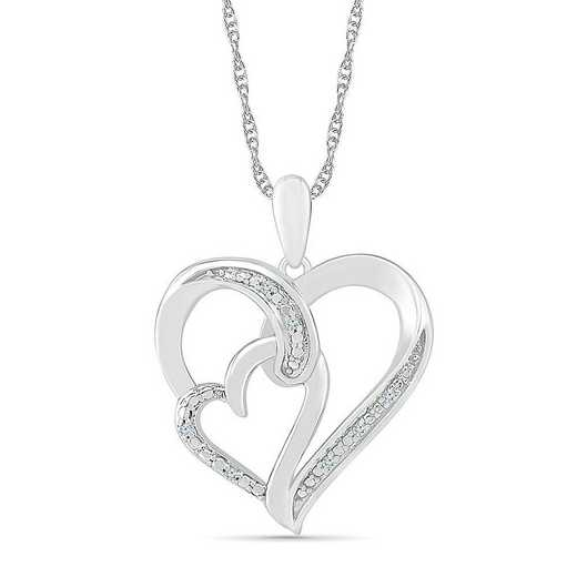 PH075341AAW: STERLING SILVER WITH DIAMOND ACCENT HEART PENDANT