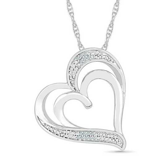 PH075446AAW: STERLING SILVER WITH DIAMOND ACCENT HEART PENDANT
