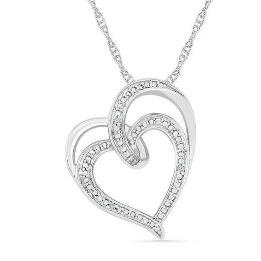 PH075859AAW: STERLING SILVER WITH DIAMOND ACCENT HEART PENDANT