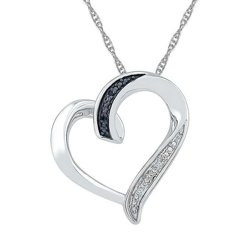 PH075878AAW BW: STERLING SILVER WHITE AND BLCK DIAMOND ACCENT HEART PENDANT