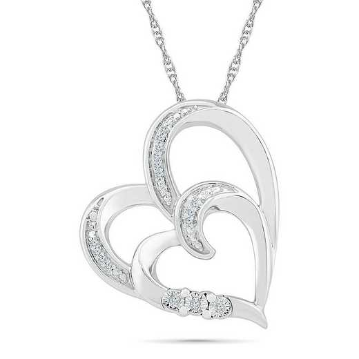 PH076120AAW: STERLING SILVER WITH DIAMOND ACCENT HEART PENDANT