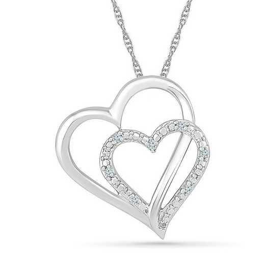 PH076350AAW: STERLING SILVER WITH DIAMOND ACCENT HEART PENDANT