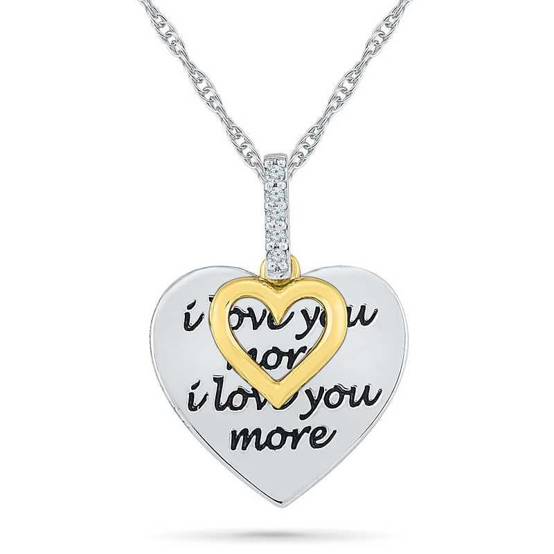 PH079715AXY: 925 10KYG DIA ACCNT ILOVEYOU DANGLE HEART NECKLACE