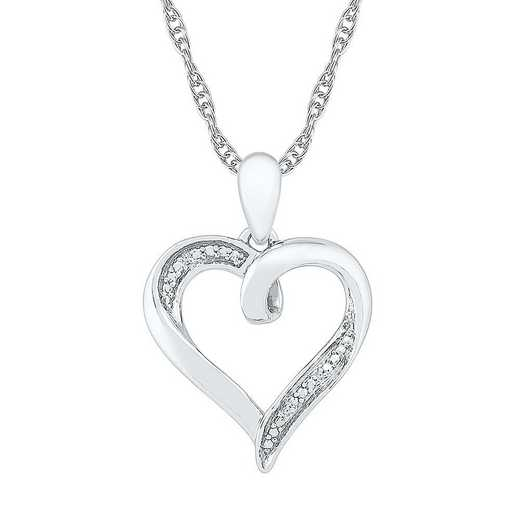 PH080444AAW: STERLING SILVER DIAMOND ACCENT HEART PENDANT