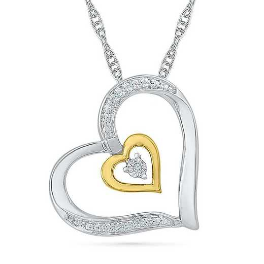 PH081585AXY: STERLING SILVER AND 10KT YG WITH DIA ACCENT HEART PENDANT