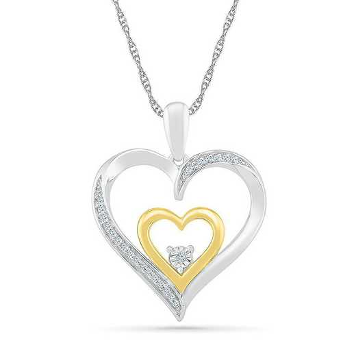 PH082641BXY: STERLING SILVER AND 10KT YG WITH DIA ACCENT HEART PENDANT