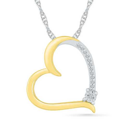 PH082699AXY: STERLING SILVER AND 10KT YG WITH DIA ACCENT HEART PENDANT