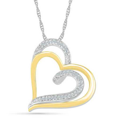 PH082706BXY: STERLING SILVER AND 10KT YG WITH DIA 1/10CTTW HEART PENDANT