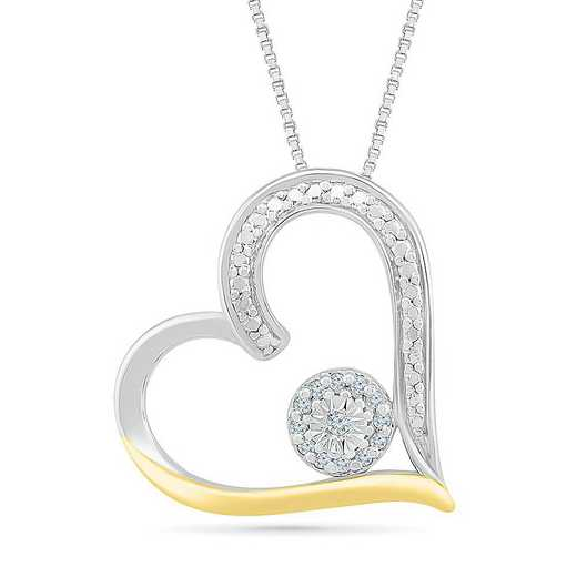 PH082805AXY: STERLING SILVER AND 10KT YG WITH DIA ACCENT HEART PENDANT
