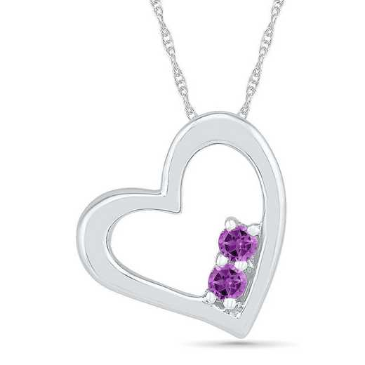 PH102251ZTW AME: 10 W  BSTONE 2 STONE HRT 10K WG Pend AMETHYST  DIA Accent