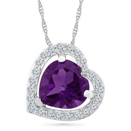 PH105493ZAW LWS AME: SS WITH CREATED WHITE SAPPHIRE AND AMETHYST HEART PENDANT