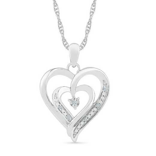 PH125464AAW: STERLING SILVER WITH DIAMOND ACCENT HEART PENDANT