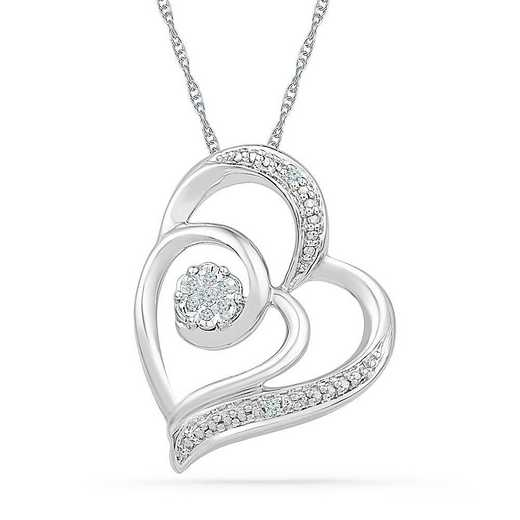 PH125812AAW: STERLING SILVER WITH DIAMOND ACCENT HEART PENDANT