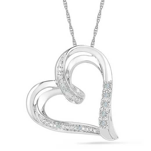 PH125907AAW: STERLING SILVER WITH DIAMOND ACCENT HEART PENDANT