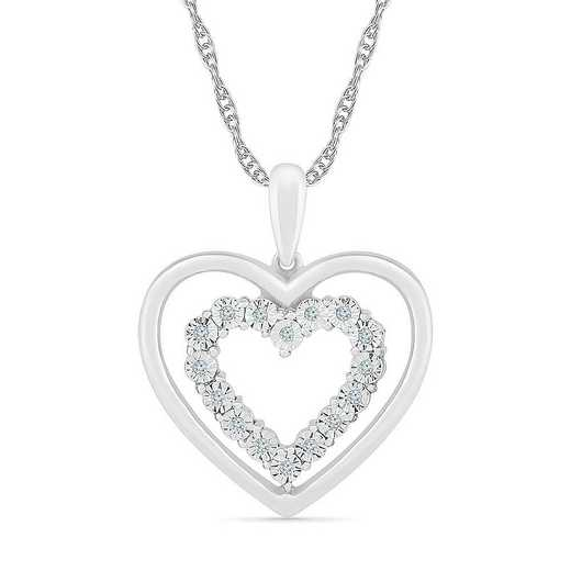 PH128152AAW: STERLING SILVER WITH DIAMOND ACCENT HEART PENDANT