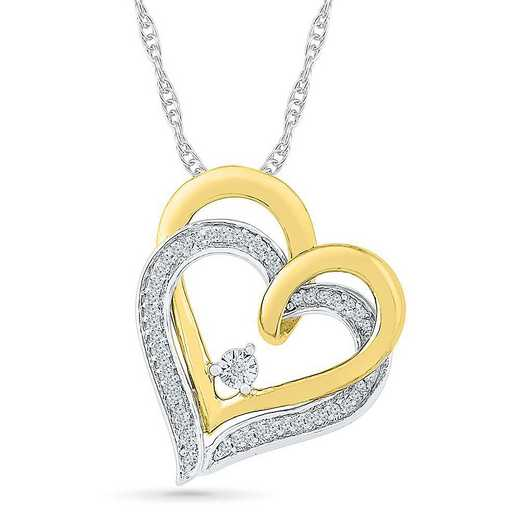PH202648CXY: STERLING SILVER AND 10KT YG WITH DIA 1/8CTTW HEART PENDANT