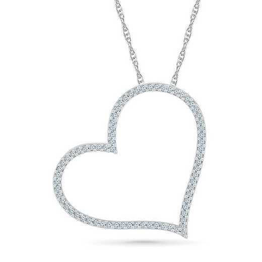 PH206205DTW: 10KT WHITE GOLD WITH 1/4CTTW DIAMOND HEART PENDANT