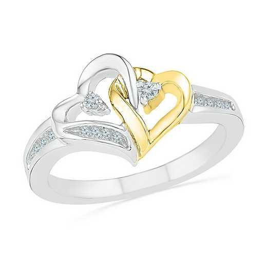 SS & 10KT YG WITH 1/10CTTW DIAMOND HEART RING