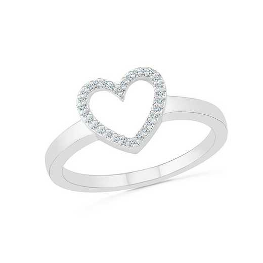 STERLING SILVER WITH 1/10CTTW DIAMOND HEART RING