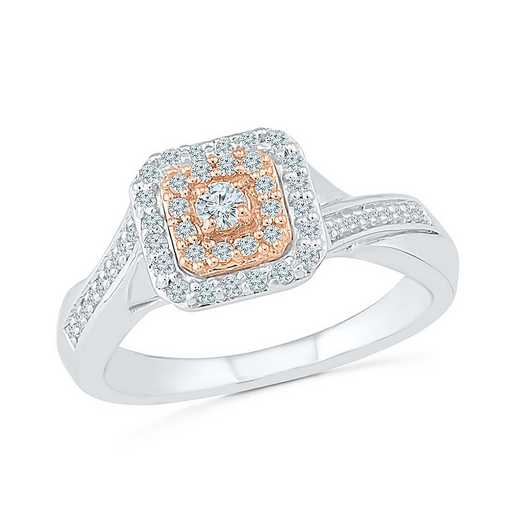 10KT WHITE & ROSE GOLD WITH 1/3CTTW DIAMOND PROMISE RING