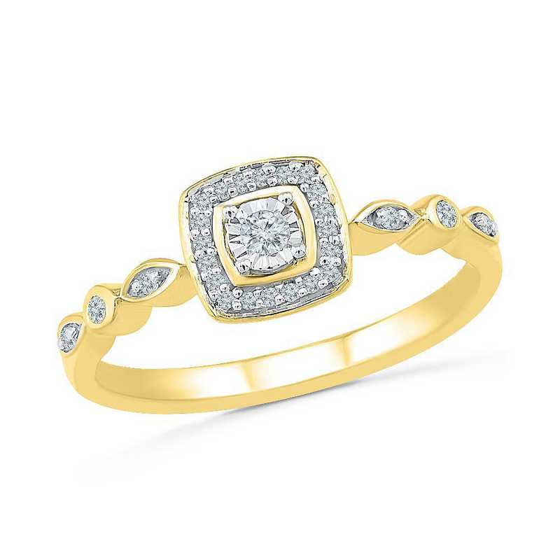 10K Yellow Gold 1/8 CT.TW. Diamond Promise Ring