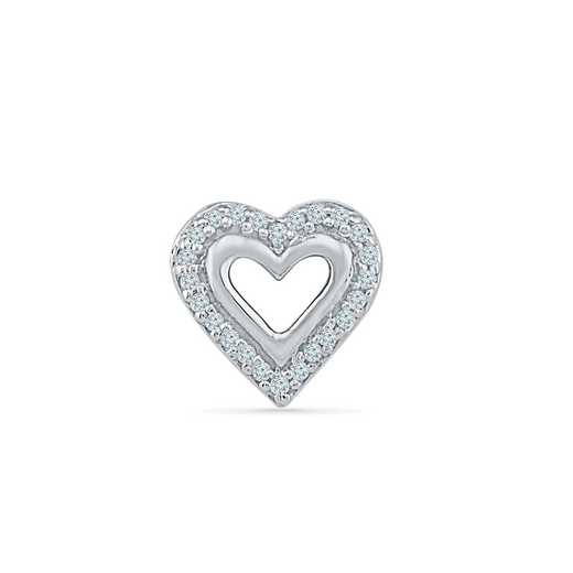 MH080579AAW: DIA ACCNT HEART SINGLE EARRING