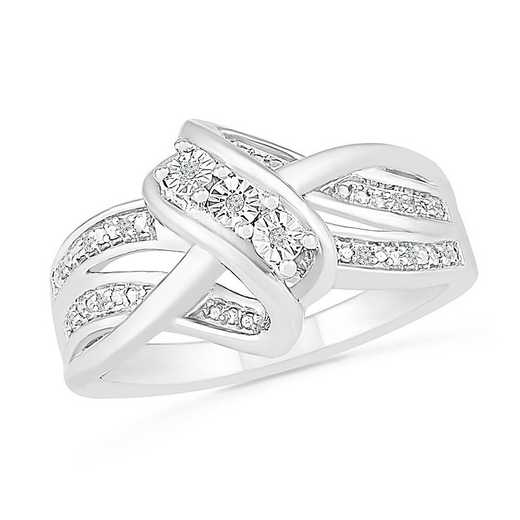 Sterling Silver With Diamond Accent Three Stone Ring