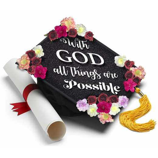 Godpossibleflowers: With God All Things are Possible-Handmade Grad Cap Topper