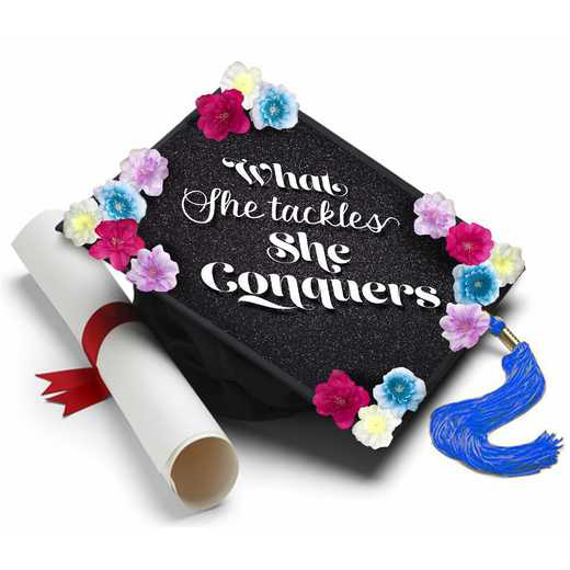 Shetacklesflowers: What She Tackles She Conquers-Handmade Grad Cap Topper