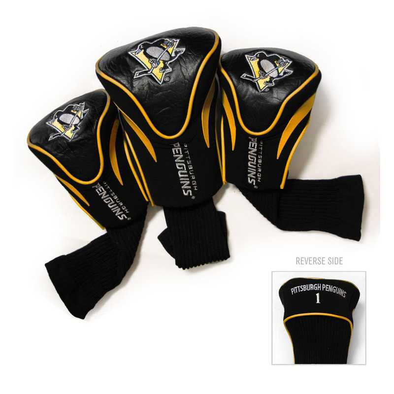 15294: 3 PKContour Head Covers Pittsburgh Penguins