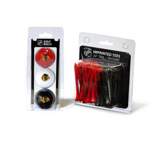 13599: 3 Golf Balls And 50 Golf Tees Chicago Blackhawks