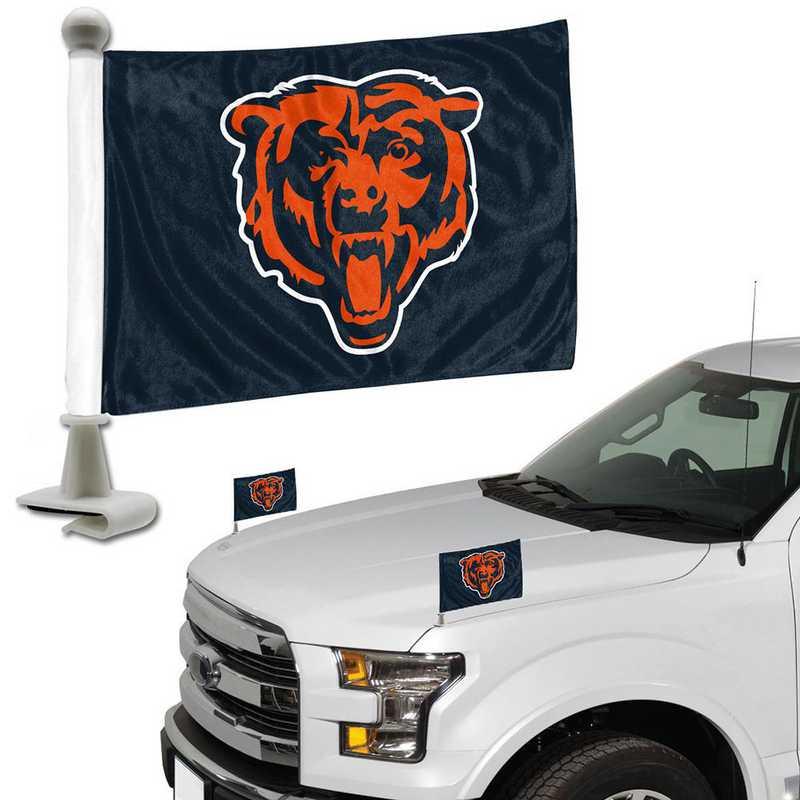 ABFNF06: Chicago Bears Auto Ambassador Flag Pair