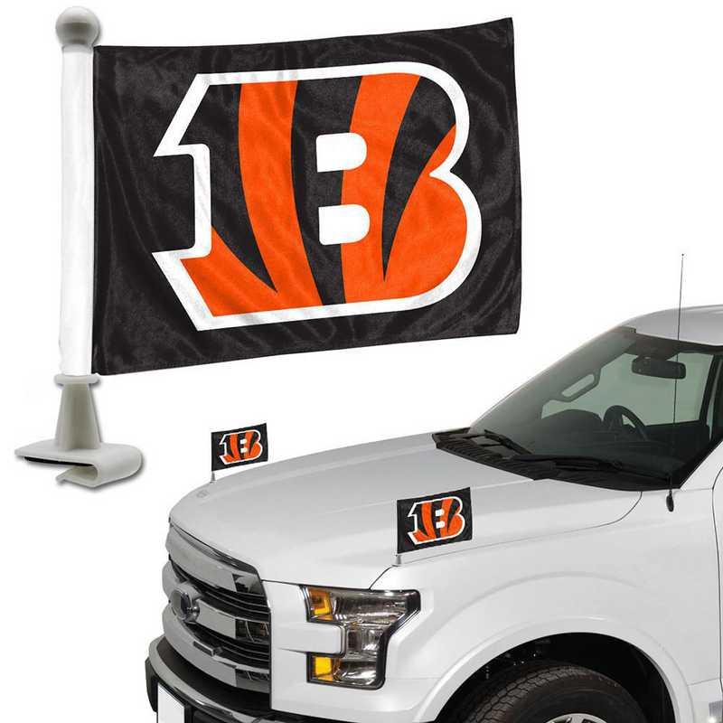 ABFNF07: Cincinnati Bengals Auto Ambassador Flag Pair