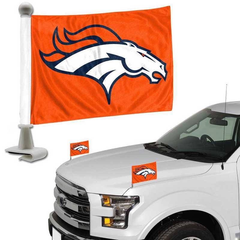 ABFNF10: Denver Broncos Auto Ambassador Flag Pair
