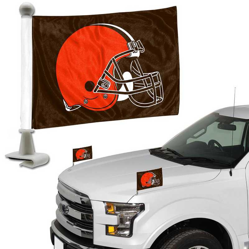 ABFNF08: Cleveland Browns Auto Ambassador Flag Pair