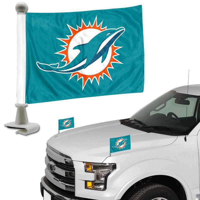 ABFNF16: Miami Dolphins Auto Ambassador Flag Pair