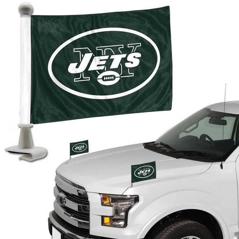 ABFNF21: New York Jets Auto Ambassador Flag Pair