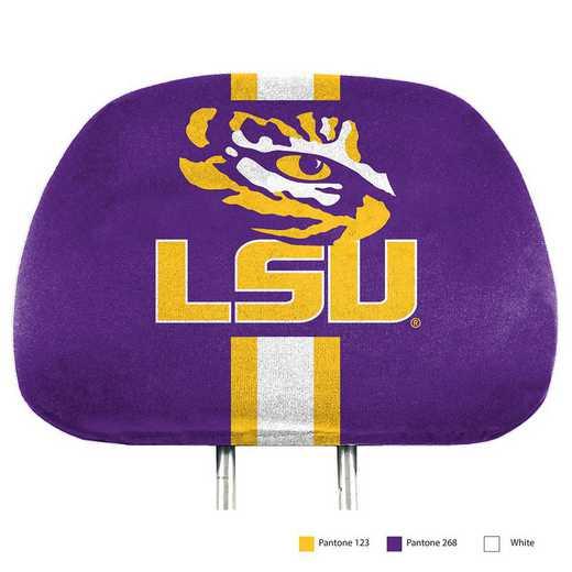 HRPU030: LSU Printed Auto Headrest Cover Set