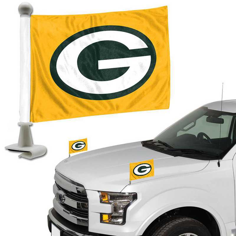 ABFNF12: Green Bay Packers Auto Ambassador Flag Pair