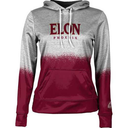 Elon University Women's Pullover Hoodie, School Spirit Sweatshirt (Spray)