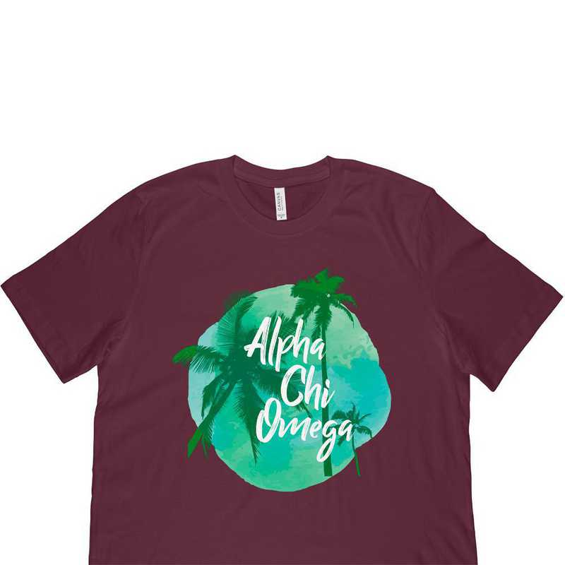 Alpha Chi Omega Tropical Palm Tree Sunset-Maroon